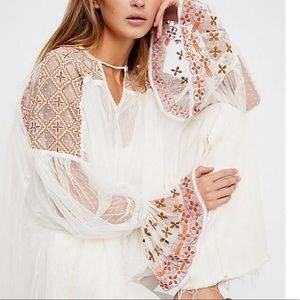 Free people joyride embroidered tulle blouse